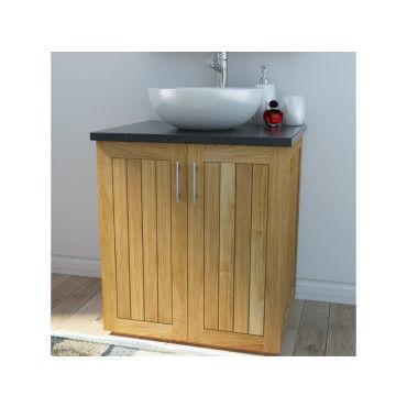 Meuble salle de bain en teck massif et granit 90 cm - Meuble sdb conforama ...