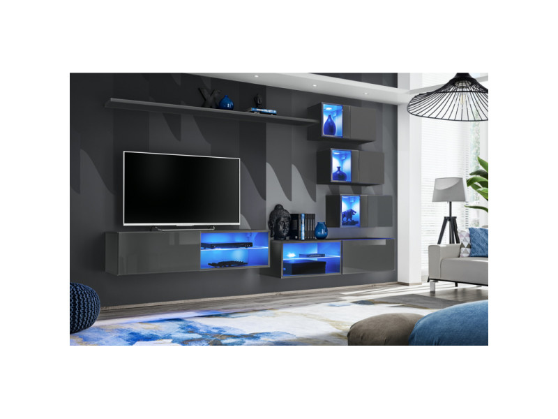 Ensemble meuble tv mural switch xxiv - l 260 x p 40 x h 170 cm - gris