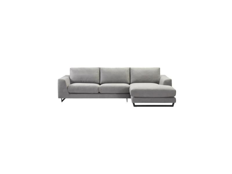 Palmas canapé d'angle droit - tissu gris chiné - l 296 x p 163 x h 82 cm PALMASANDGR