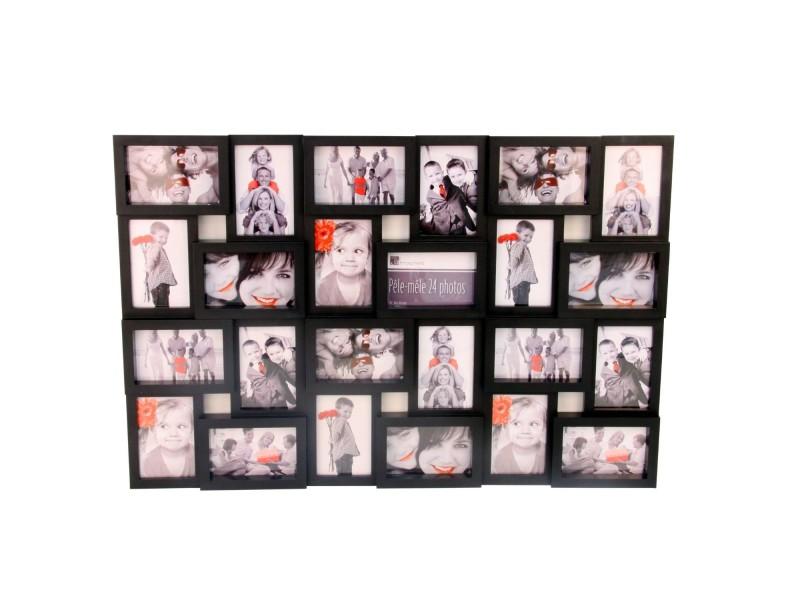 cadre photo p le m le mural coloris noir capacit 24. Black Bedroom Furniture Sets. Home Design Ideas