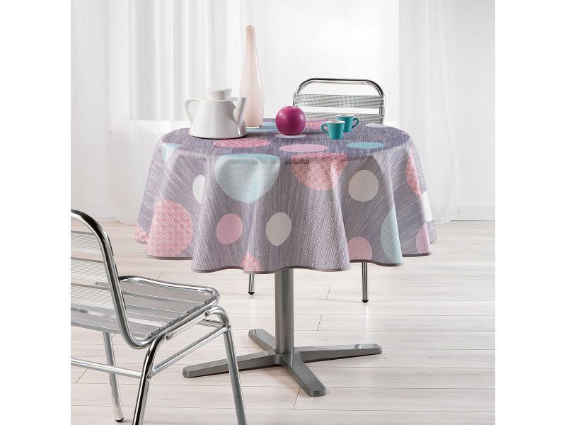 Nappe de table ronde ø180cm atolls rose toucher soft