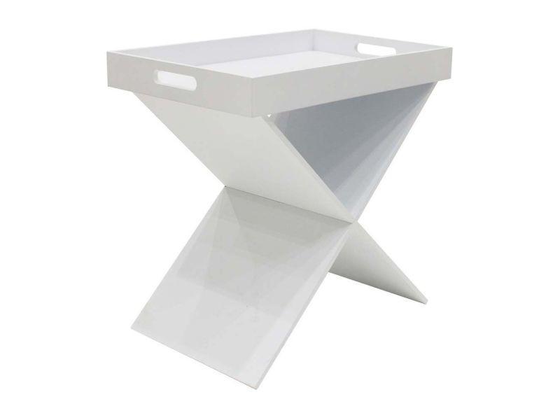 Table d'appoint croisillons avec plateau amovible blanc
