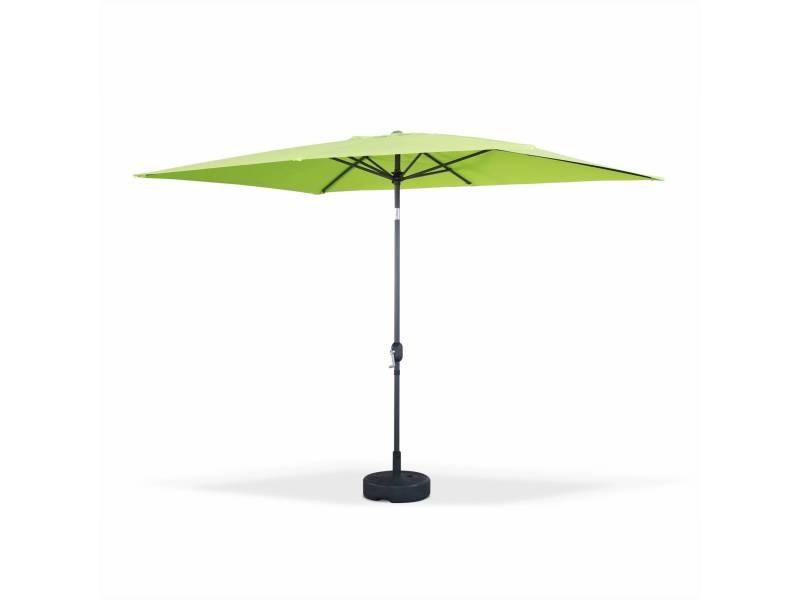 Parasol droit touquet rectangulaire 2x3m vert pomme, mât central ...