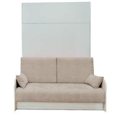 Armoire Lit Escamotable 140 Cm Box Coloris Blanc Canape Coffre Integre Tissu Ecru 20100876702 Vente De Armoire Conforama