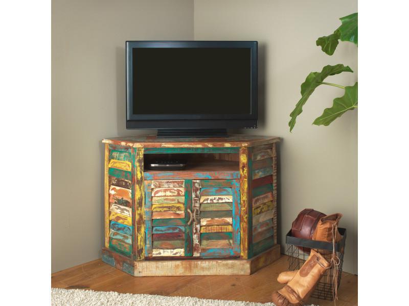 meuble tv d 39 angle ethnik bois recycl color mk21 bois colore vente de meuble tv conforama. Black Bedroom Furniture Sets. Home Design Ideas