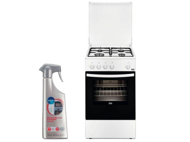 Cuisiniere 4 foyers brûleurs gaz blanc 50x60cm four email contre-porte plein verre gazinière 61l