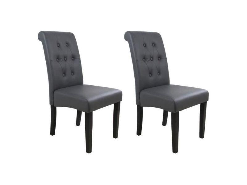 Cuba lot de 2 chaises de salle a manger simili gris style contemporain l 45 x p 42 cm