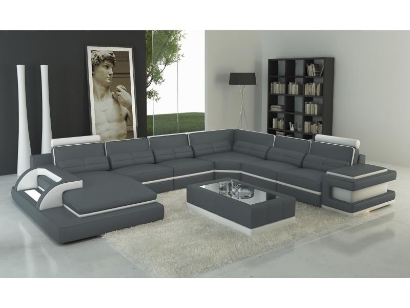 Canapé panoramique cuir gris et blanc design avec lumière ibiza panoramique (angle gauche)-