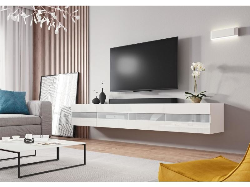Meuble tv casablanca 2 (200 cm) blanc et blanc brillant