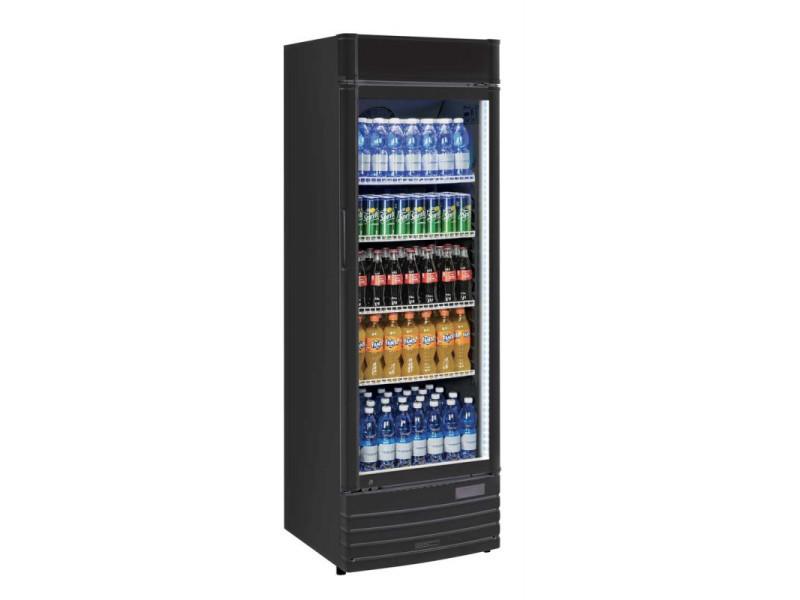 Armoire réfrigérée à boissons noire - 350 litres - r600a 1 porte vitrée