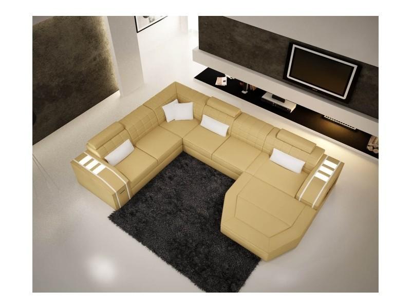Canapé d'angle panoramique cuir jaune et blanc saturn-