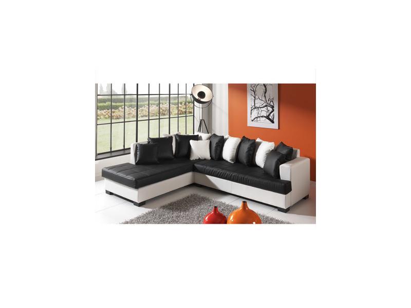 Canapé d'angle à gauche en pu blanc et noir - paros