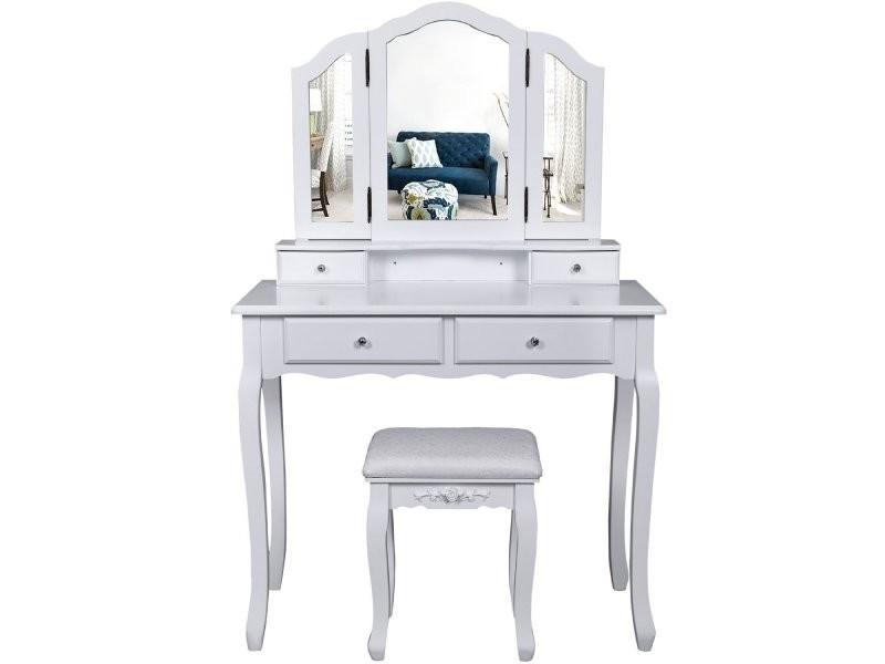 coiffeuse bois avec 3 miroirs 4 tiroirs et tabouret table. Black Bedroom Furniture Sets. Home Design Ideas