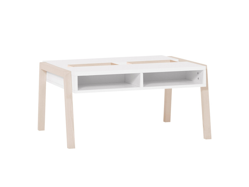 Table basse spot acacia et blanc