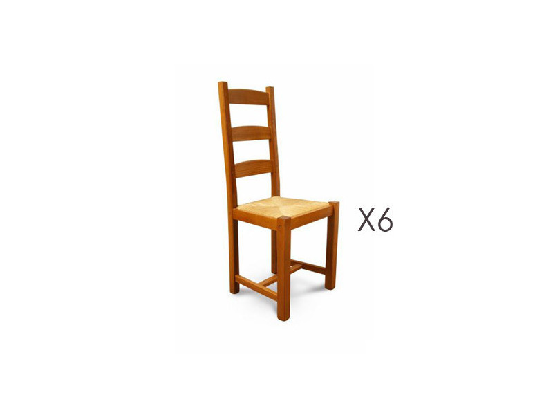 Lot De 6 Chaises Hetre Assise Paille Teinte Chene Dore