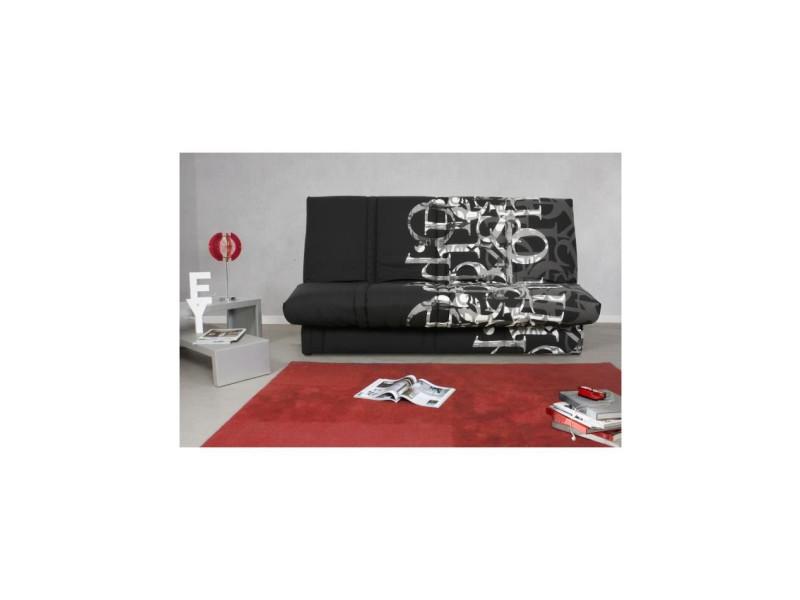 Banquette clic clac 120 x 190 cm - tissu noir et blanc - l 195 x p 90 x h 84 cm - randy RANDYCC