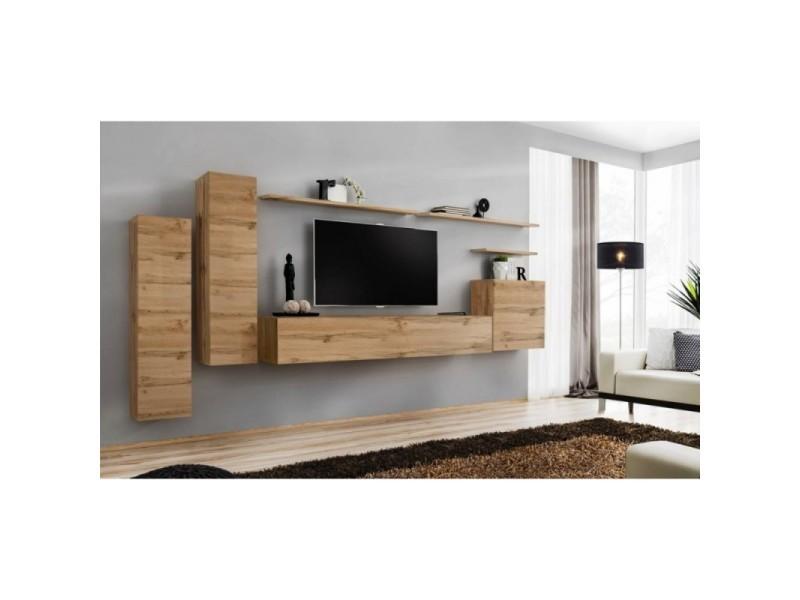 Ensemble meuble salon switch i design, coloris chêne wotan.