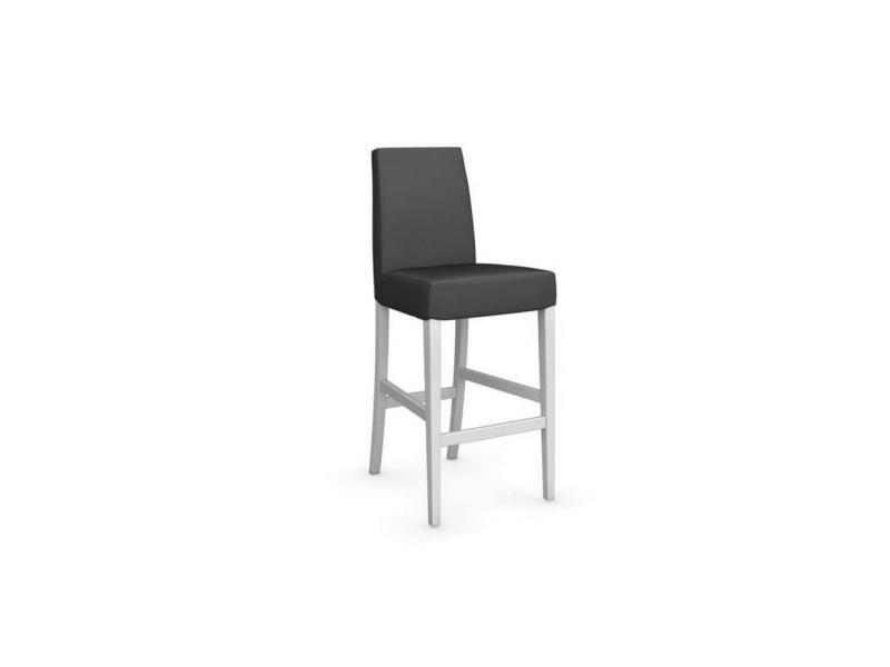 Chaise de bar latina piétement hêtre laqué blanc 20100839333