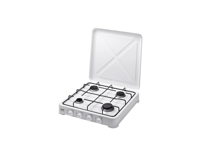 Réchaud gaz 4 feux 5850w edm blanc laqué dimensions : 50 x 50 x 10 cm