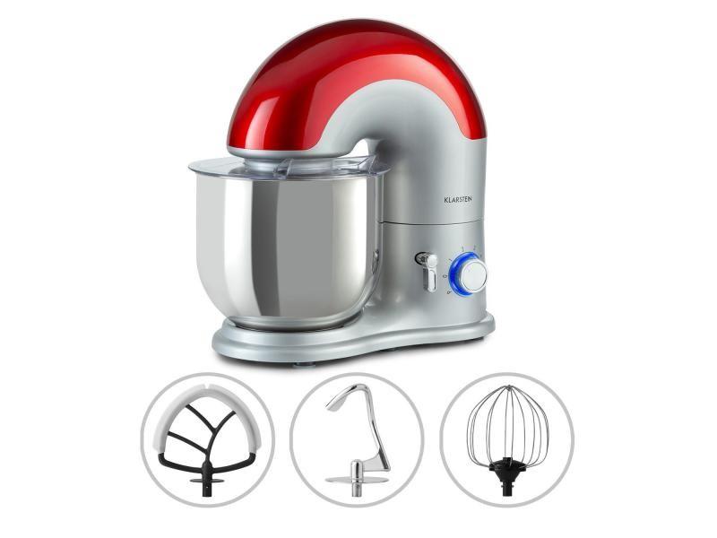 Klarstein delfino - robot de cuisine multifonction 1800w , 6 vitesses, fonction pulse, bol inox 7 litres - argent