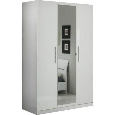 Armoire 3 portes blanc laqué avec miroir central - Vente de ...