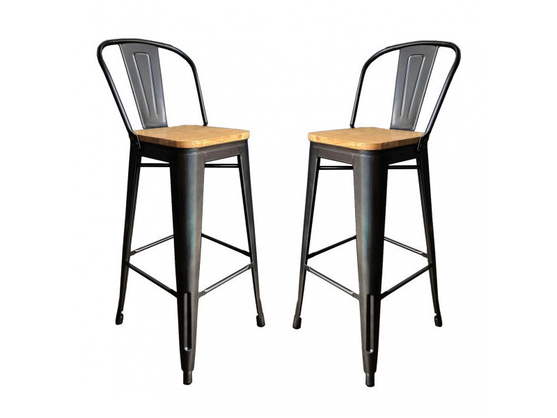 Nevada - 2 chaises de bar en acier gris et bois clair
