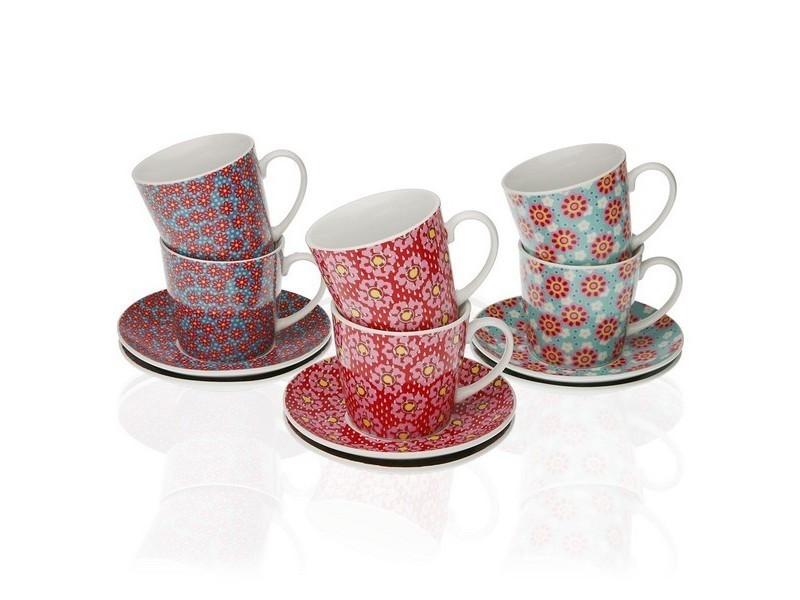 Tasses et thermos stylé ensemble de tasses à café rozanne porcelaine (6 pièces)