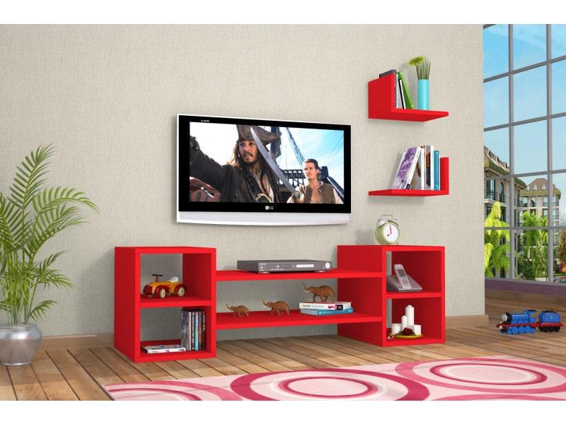 Meuble tv design zeo rouge