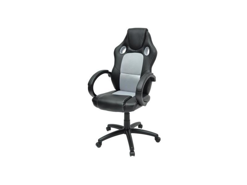 Laren chaise de bureau simili noir et tissu gris style