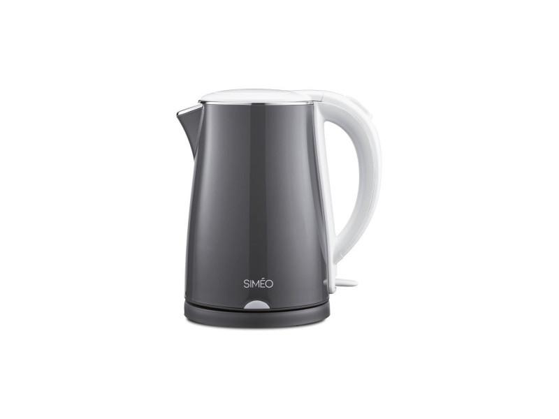 Simeo ct 220 - bouilloire parois froides-1,2l-2200w-chauffage rapide-interieur inox-silencieuse-sans fil-gris laque et blanc SIM3416879736860
