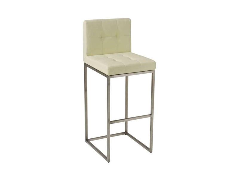 Tabouret de bar avec siège en polyuréthane coloris crème - 103.5 x 41 x 45 cm -pegane-