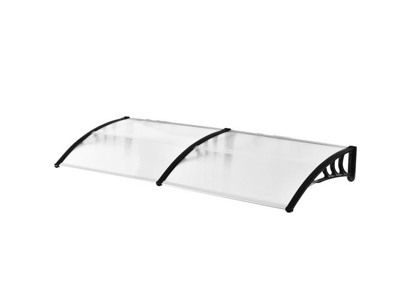Auvent marquise de porte design voûté arrondi dim. 195l x 80l x 23h cm polycarbonate plastique noir