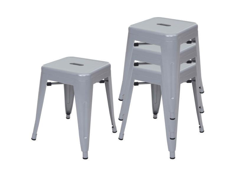 4x tabouret hwc-a73 en métal, design industriel, empilable ~ gris