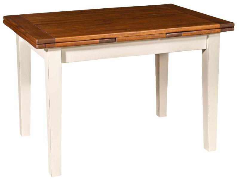 Table de campagne à rallonge en bois de tilleul massif, structure blanche, plateau en noyer vieilli made in italy