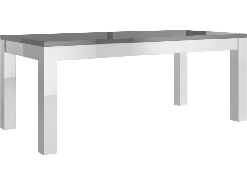 Table salle à manger 190cm blanc et gris laqué p-6836-co ...