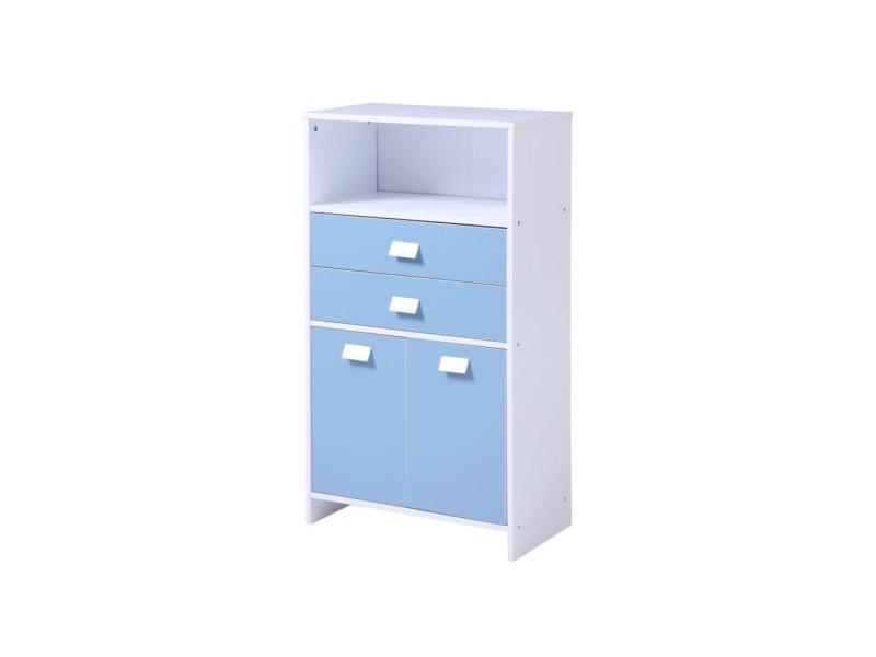 Top meuble bas de salle de bain l 60 cm - blanc et bleu mat ...
