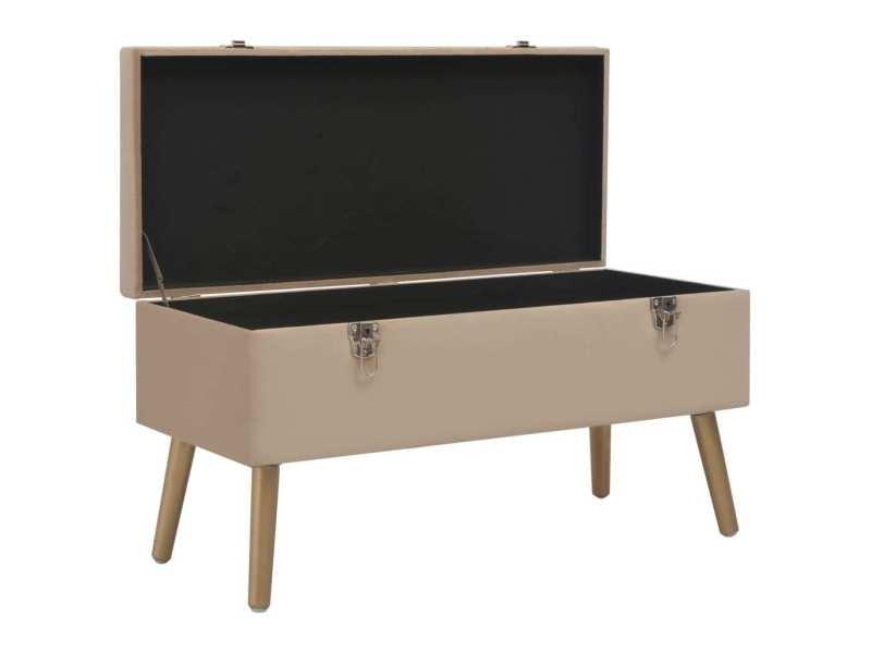 Icaverne - bancs coffres gamme banc avec compartiment de rangement 80 cm beige velours