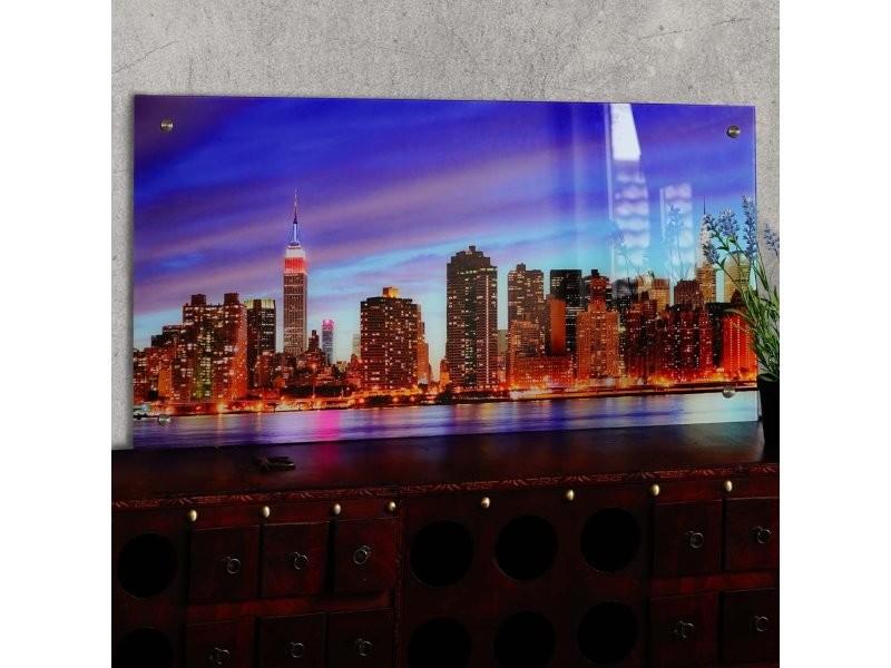 Tableau Sur Verre Motif New York Decoration A Suspendre Dec04020 Vente De Toile Et Image Encadree Conforama
