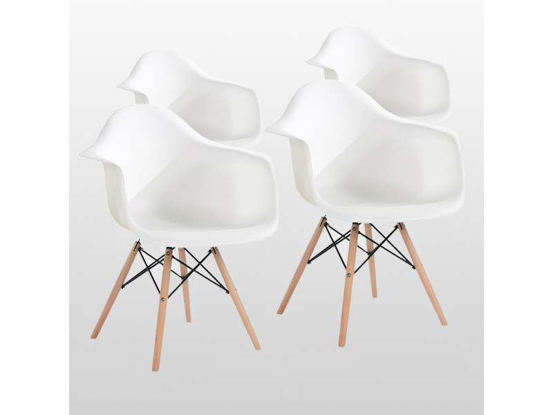 Lot de 4 chaises style scandinaves blanches ajie