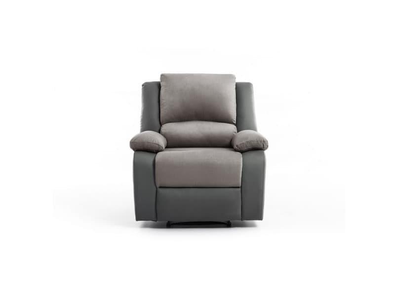 Fauteuil relaxation 1 place microfibre / simili detente - couleur - gris 9121EGRISMFPU1