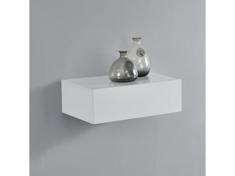 [en.casa]® étagère murale pour chambre à coucher avec 1 tiroir - blanc laqué - 46x30x15cm