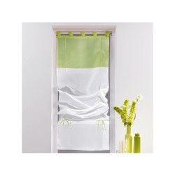 Un store droit à passant - rideau voile bicolore blanc / vert amande 60 x 180 cm