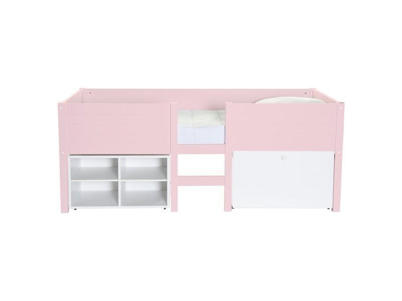 lit sur lev enfant avec rangement rose poudr lit sureleve school caisson rose p conforama. Black Bedroom Furniture Sets. Home Design Ideas