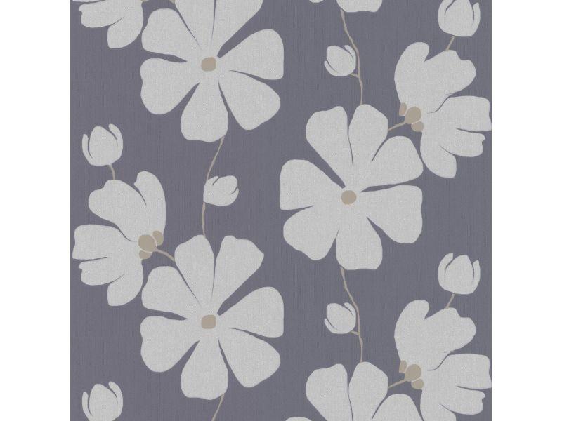 Papier peint intissé fleurs 1000 x 53cm gris-bleu 4077-60