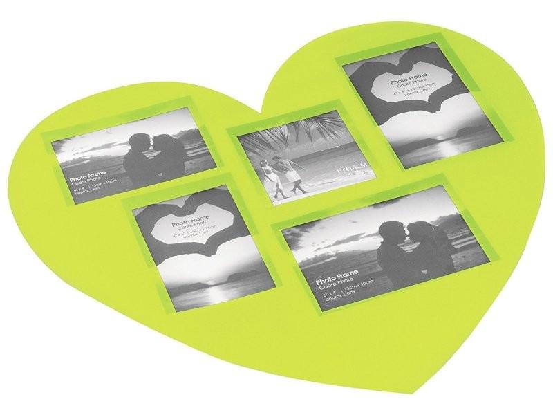 Set de table cadre photos coeur vert 45 x 41 cm