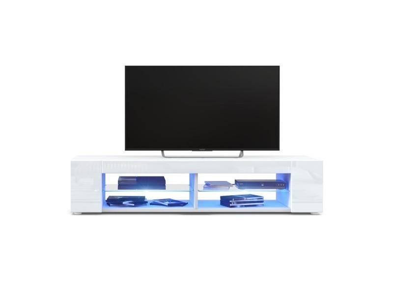 Meuble tv blanc mat façades en blanc laquées led bleu