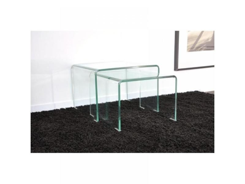 wave gigogne transparente 2 tables verre design. Black Bedroom Furniture Sets. Home Design Ideas