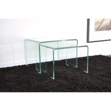 wave gigogne transparente 2 tables verre design 20100827924 vente de table basse conforama. Black Bedroom Furniture Sets. Home Design Ideas