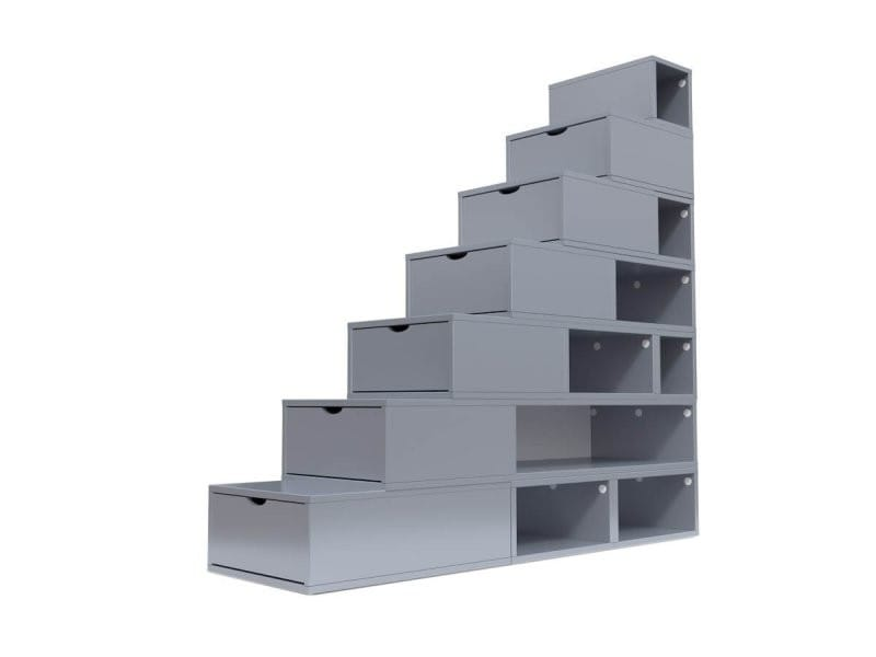 Escalier cube de rangement hauteur 175 cm gris aluminium ESC175-GA