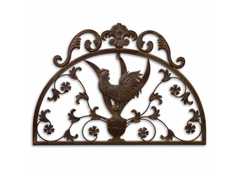 Fronton coq décoratif à fixer applique murale motif nature en forme de demi lune en métal patiné marron 1x49x70cm